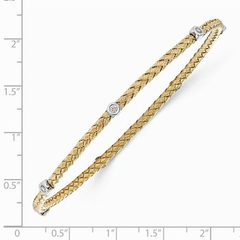Leslie's Sterling Silver Gold-plated CZ Polished Textured Bangle