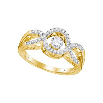 10kt Yellow Gold Womens Round Diamond Twinkle Solitaire Moving Ring 1/4 Cttw
