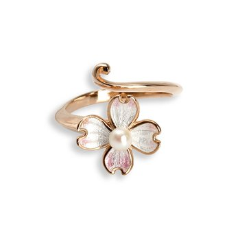 White Dogwood Ring.Rose Gold Plated Sterling Silver-Akoya Pearl