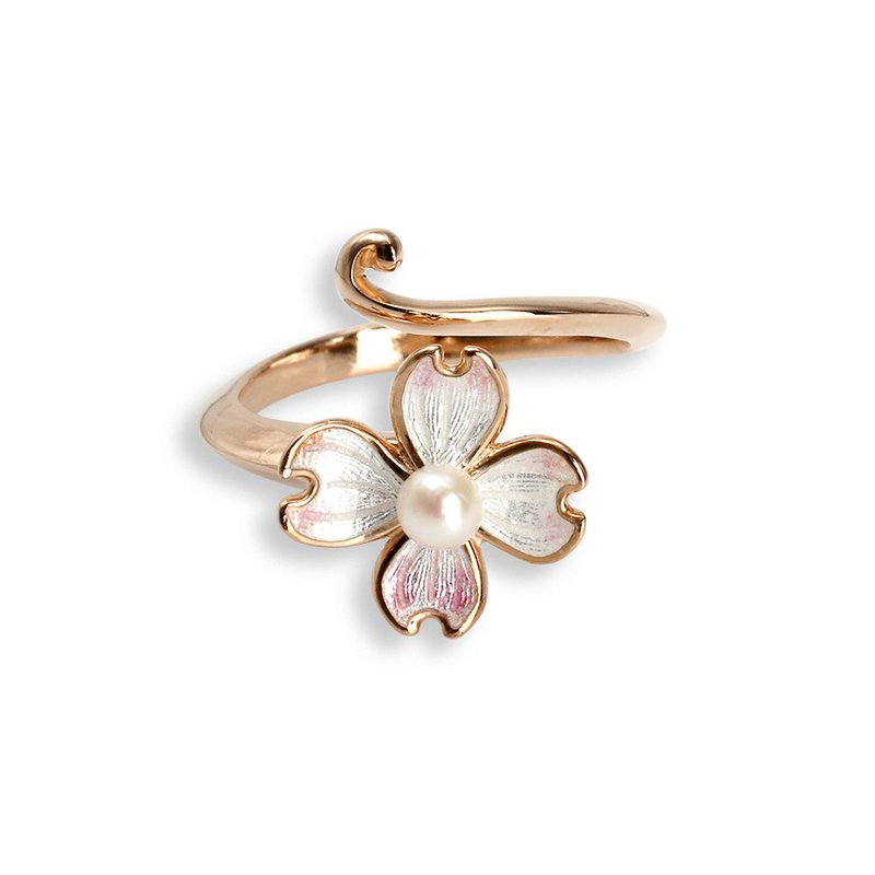 Nicole Barr Designs White Dogwood Ring.Rose Gold Plated Sterling Silver-Akoya Pearl