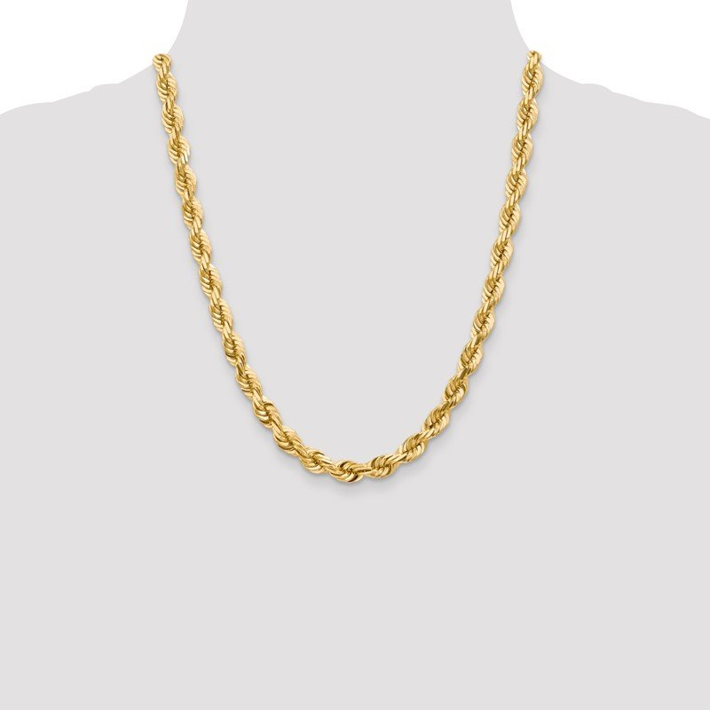 Arizona Diamond Center Collection 10k 7mm Diamond-cut Rope Chain