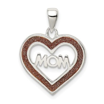 Sterling Silver Glitter Infused Mom Heart Pendant