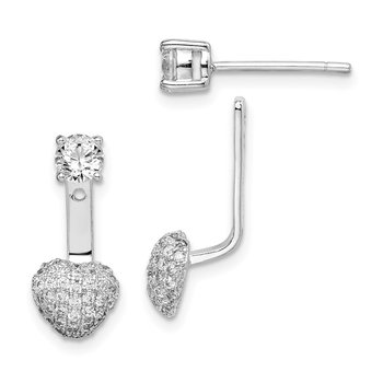 Sterling Silver Rhodium plated CZ Dangle Heart Front/Back Earrings