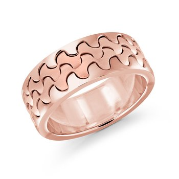 Catch the wave with this 9mm rose gold interlock center band