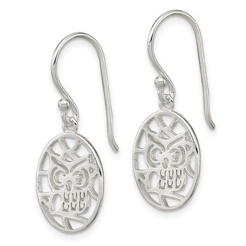 Sterling Silver Cut-out Owl Shepherd Hook Earrings