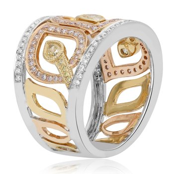 Tri-Color Diamond Fashion Band