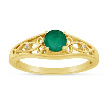 14k Yellow Gold Round Emerald And Diamond Ring
