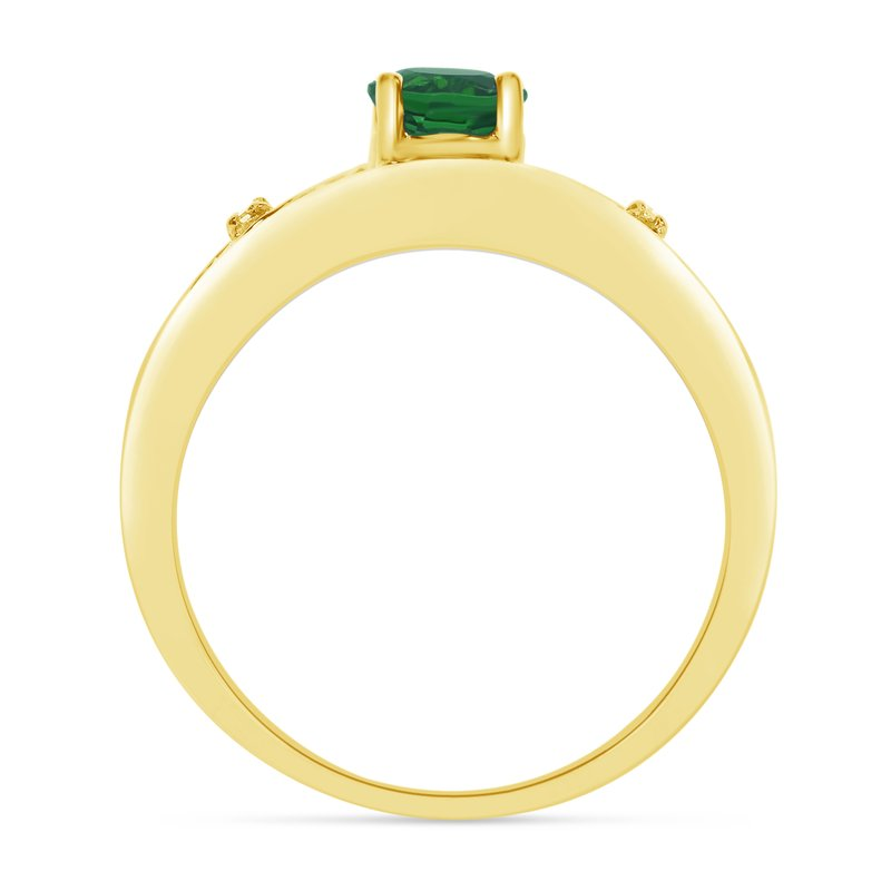 Color Merchants 14k Yellow Gold Round Emerald And Diamond Ring