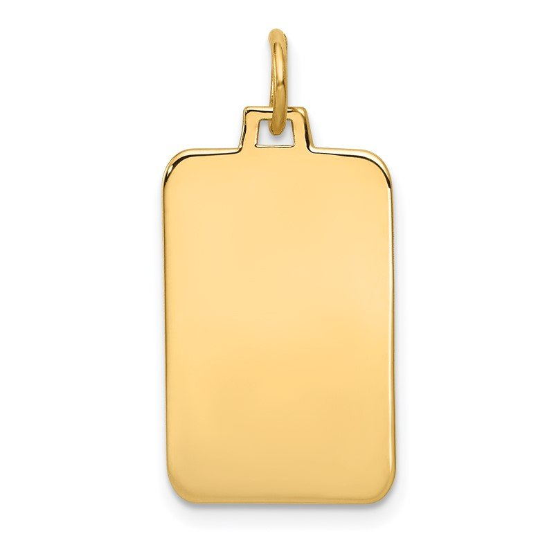 Quality Gold 14k Plain .035 Gauge Engravable Rectangular Disc Charm