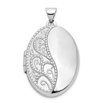 14k White Gold 26mm 1/2 Hand Engraved Scroll Oval Locket