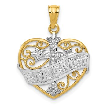 14k w/Rhodium Mom and Cross Filigree Heart Pendant