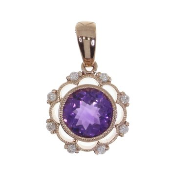 14K Rose Gold Amethyst and Diamond Pendant