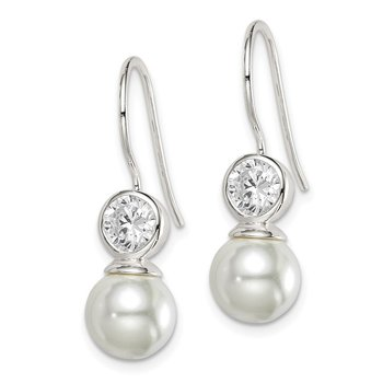 Sterling Silver CZ & Glass Pearl Dangle Earrings