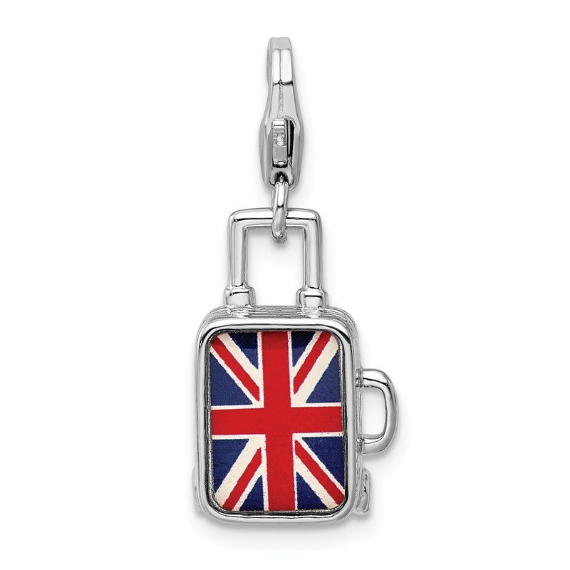 Quality Gold Sterling Silver Enameled British Flag Suitcase Lobster Clasp Charm