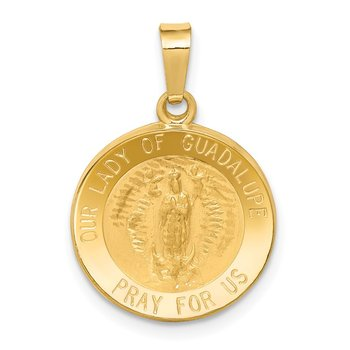 14k Polished and Satin Our Lady Guadalupe Medal Hollow Pendant
