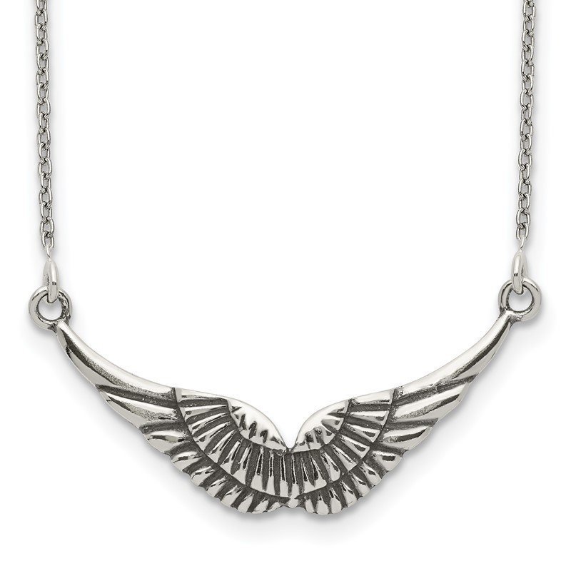 Quality Gold Sterling Silver Polished and Antiqued Wings Necklace