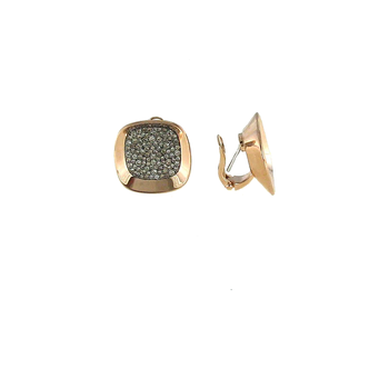 18KT ROSE AND BLACK GOLD EARRINGS WITH BROWN DIAMONDS