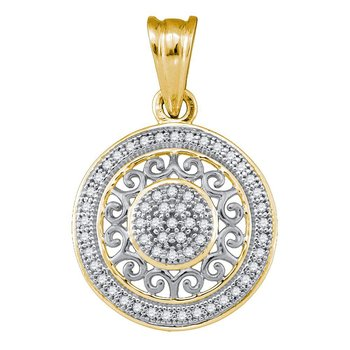 10kt Yellow Gold Womens Round Diamond Circle Pendant 1/6 Cttw