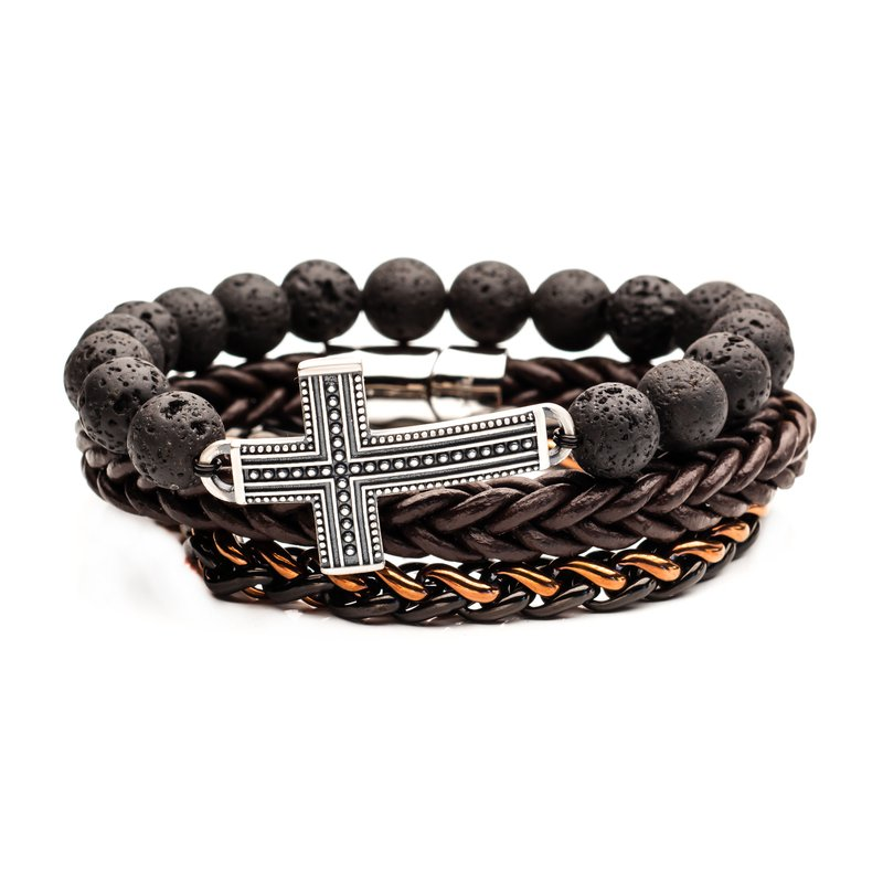 INOX Men's Jewelry Lava Cross, Brown Leather and Two tone Steel Stackable Bracelets