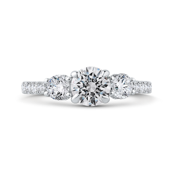 18K White Gold Round Diamond Three-Stone Plus Engagement Ring with Round Shank (Semi-Mount)