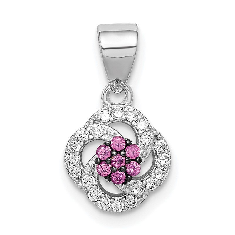 Quality Gold Sterling Silver Blk Rhod-plated Imitation Pink Ruby White CZ Pendant