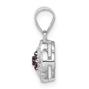 Sterling Silver Blk Rhod-plated Imitation Pink Ruby White CZ Pendant