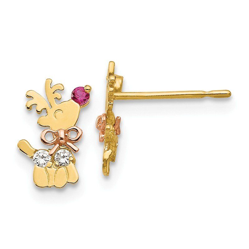Arizona Diamond Center Collection 14k Yellow & Rose Gold Madi K CZ Children's Reindeer Post Earrings