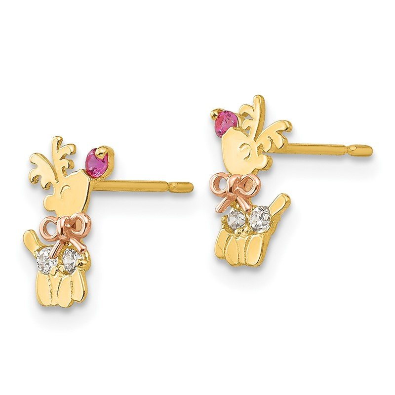 Quality Gold 14k Yellow & Rose Gold Madi K CZ Children's Reindeer Post Earrings