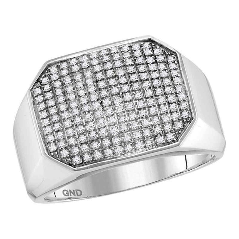 Kingdom Treasures 10kt White Gold Mens Round Pave-set Diamond Octagon Cluster Ring 1/2 Cttw