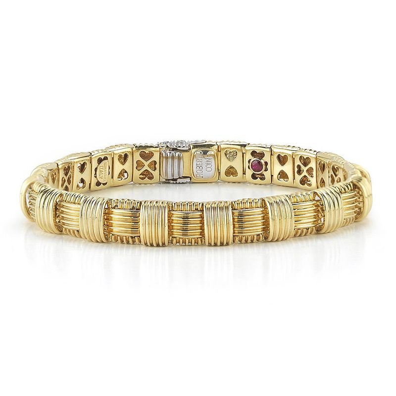 Roberto Coin 18Kt Gold 1 Row Bracelet With Diamond Clasp
