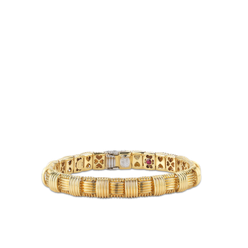 18KT GOLD 1 ROW BRACELET WITH DIAMOND CLASP