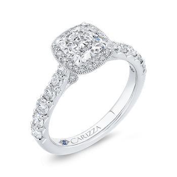 18K White Gold Cushion Diamond Halo Engagement Ring (Semi-Mount)