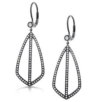 Diamond Fashion Earrings in 14K White Gold with Black Rhodium with 152 diamonds weighing .74ct tw
