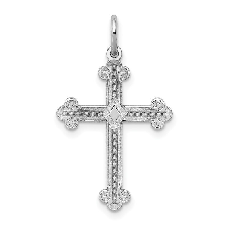 JC Sipe Essentials 14K White Gold Laser Designed Cross Pendant