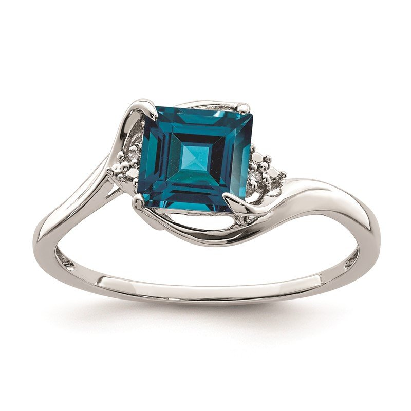 Quality Gold Sterling Silver Rhodium Plated Diamond & London Blue Topaz Ring