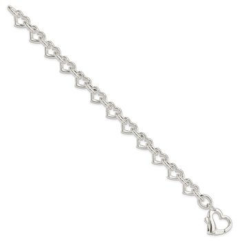 Sterling Silver 7.5inch Polished Fancy Heart Link Bracelet