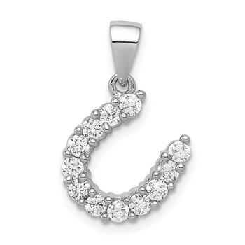 Sterling Silver Rhodium-plated Horseshoe CZ Pendant