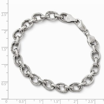Leslie's Sterling Silver Polished and Textured Link Bracelet