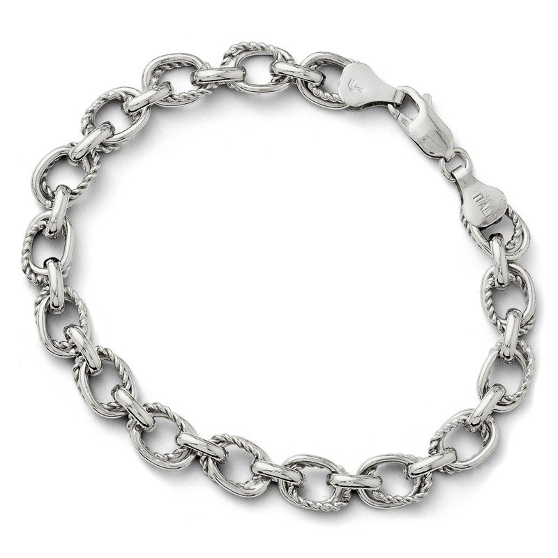 Leslie's Leslie's Sterling Silver Polished and Textured Link Bracelet