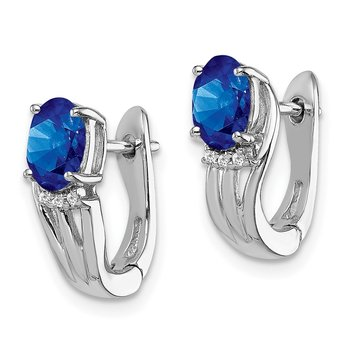 Sterling Silver Rhodium Plated Diamond & Sapphire Hinged Earrings