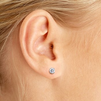 4 mm Round White Topaz Screw-back Stud Earrings in 14k White Gold