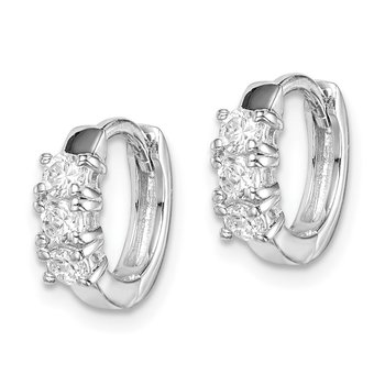 Sterling Silver RH-plated 3-stone CZ 2x11mm Hinged Hoop Earrings