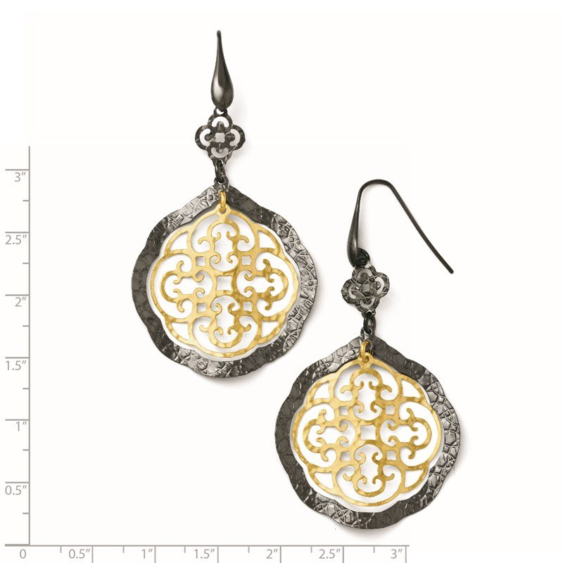 Leslie's Leslie's Sterling Silver/Ruthenium/Gold-tone 14K Flash Earrings