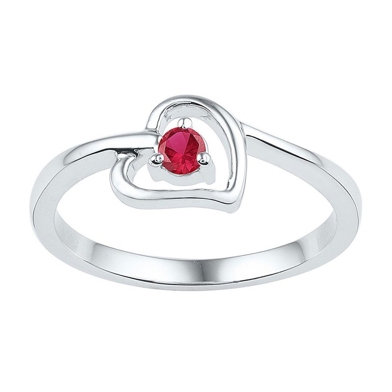 Gold-N-Diamonds, Inc. (Atlanta) Sterling Silver Womens Round Lab-Created Ruby Solitaire Heart Ring 1/5 Cttw
