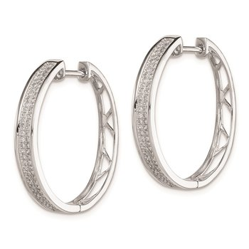 Sterling Silver Rhodium Diam. Round Hinged Hoop Earrings
