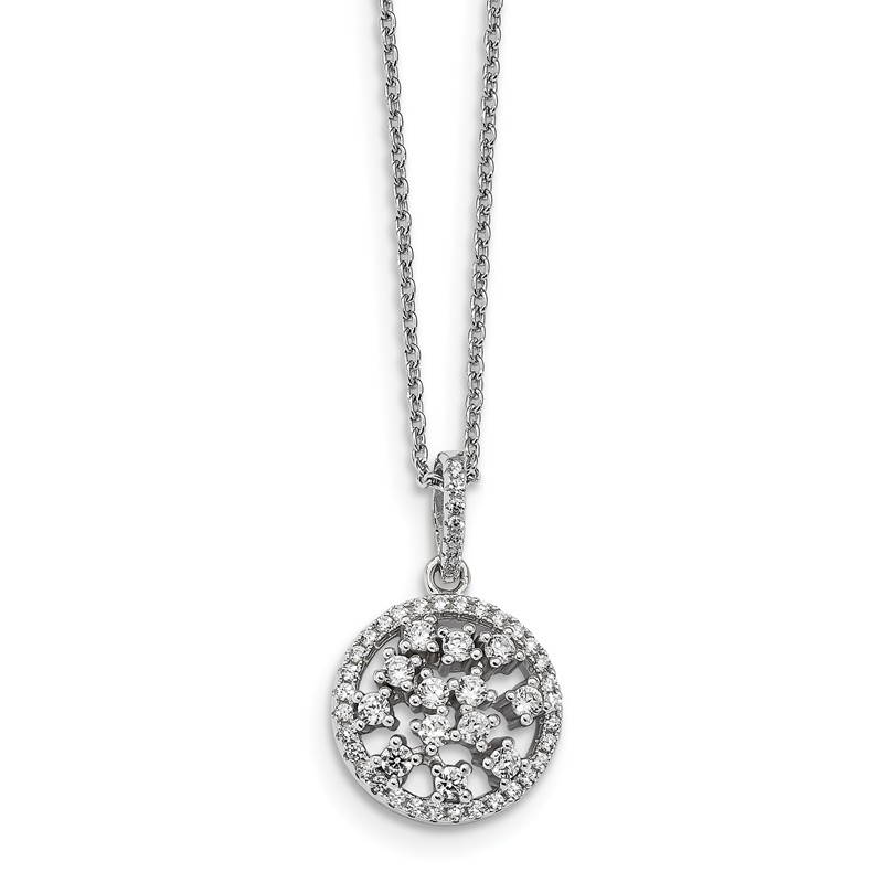Sterling Silver /& Cz Brilliant Embers Necklace