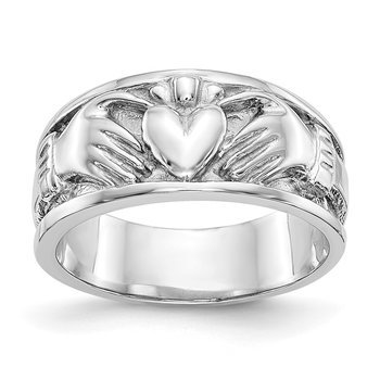 14k White Gold Claddagh Band