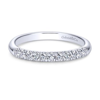 14K White Gold  Contemporary French Pave Straight  Diamond Band