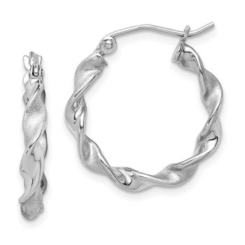 Sterling Silver Rhodium-plated Polish/Satin 2.5mm Twist Hoop Earrings
