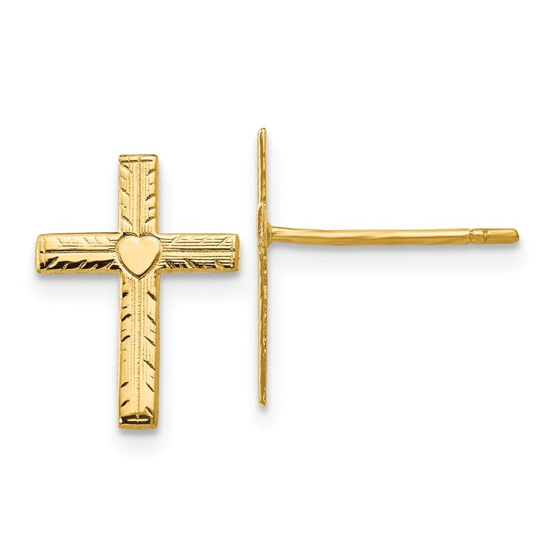 Quality Gold 14k Polished & Satin Heart Cross Earrings